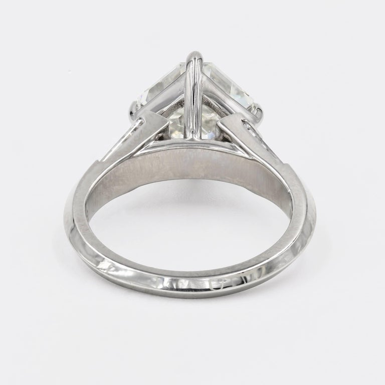 4.01 Carat Royal Asscher Cut Diamond Ring in Platinum, GIA Certified For Sale 2