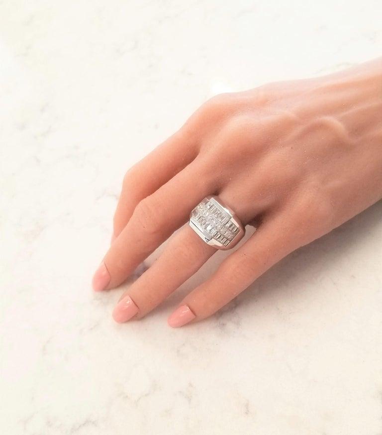Men's 4.01 Carat Total Invisible Set Baguette and Princess cut Diamond Cocktail Ring For Sale