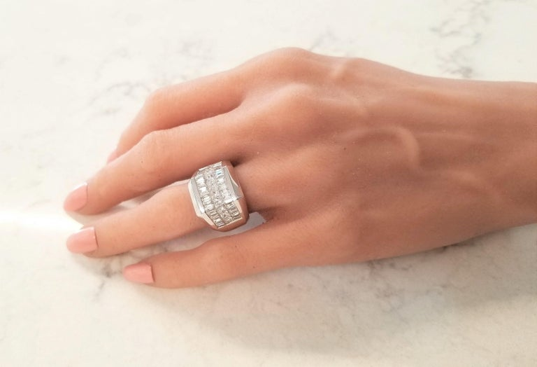 4.01 Carat Total Invisible Set Baguette and Princess cut Diamond Cocktail Ring For Sale 1