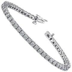 4.01 Carat Total Round Diamond 4 Prong Tennis Bracelet in 14 Karat White Gold