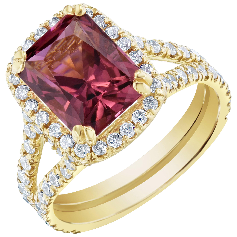4.01 Carat Tourmaline Diamond 18 Karat Yellow Gold Engagement Ring