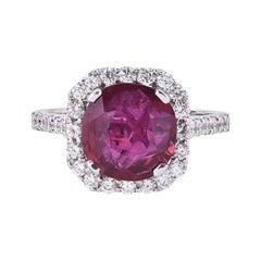 Laviere 4.02 Carat Burmese Ruby and Diamond Ring