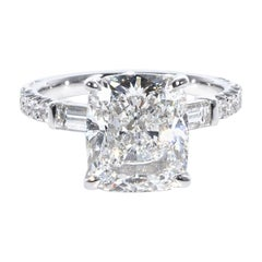 4.02 Carat Cushion Cut Diamond Engagement Ring, in 18 Karat