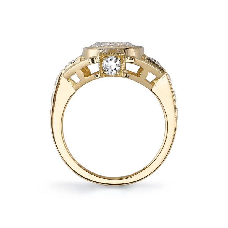 4.02 Carat Cushion Cut Diamond Set in a Handcrafted Yellow Gold Engagement Ring In New Condition For Sale In Los Angeles, CA
