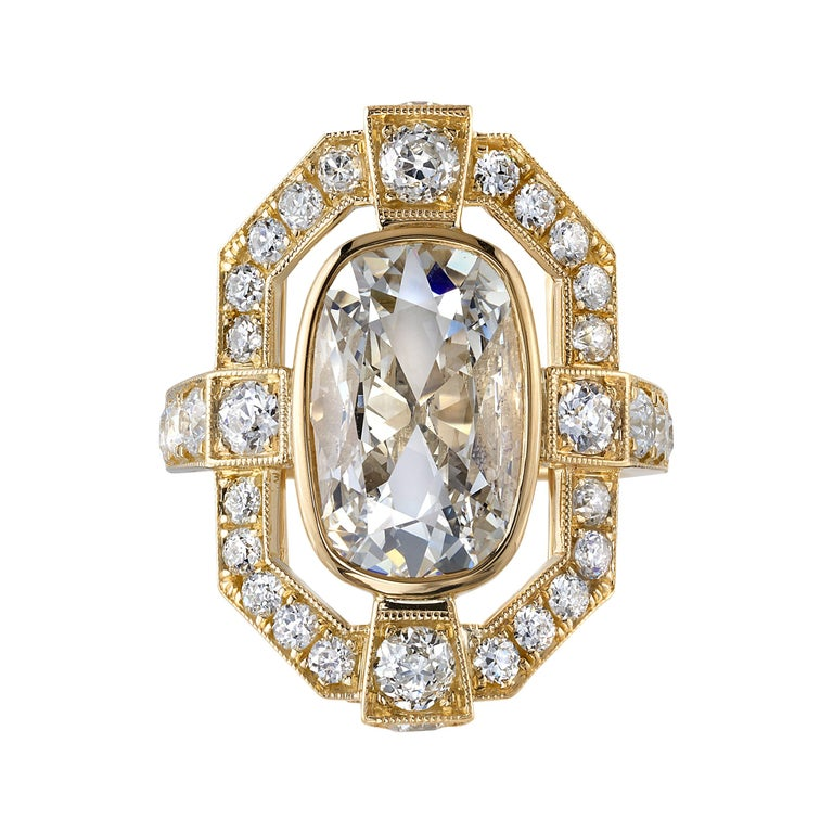 4.02 Carat Cushion Cut Diamond Set in a Handcrafted Yellow Gold Engagement Ring For Sale