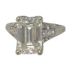 GIA 4.02 Carat Diamond Platinum Engagement Ring