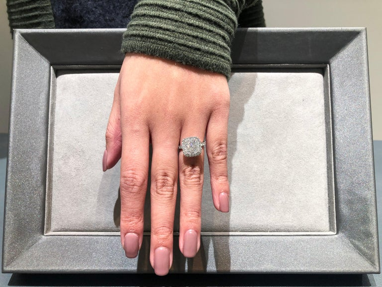 4.02 Carat GIA Certified Cushion Cut Diamond Halo Engagement Ring In New Condition For Sale In New York, NY