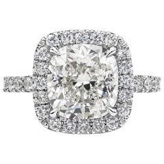 4.02 Carat GIA Certified Cushion Cut Diamond Halo Engagement Ring