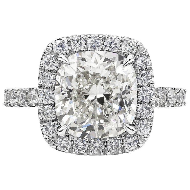 4.02 Carat GIA Certified Cushion Cut Diamond Halo Engagement Ring For Sale