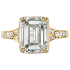 4.02 Carat GIA Certified Emerald Cut Diamond Set in an 18 Karat Yellow Gold Ring