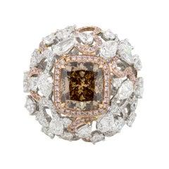 4.02 Carat GIA Fancy Brown Center Diamond Cocktail Ring 18 Karat in Stock