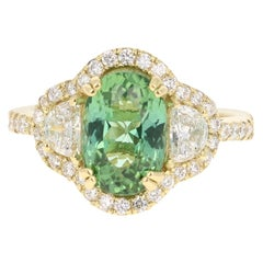4.02 Carat Green Tourmaline Diamond 18 Karat Yellow Gold Engagement Ring
