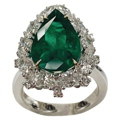 4.02 Carat Pear Shape Colombian Emerald on 18k Diamond Ring