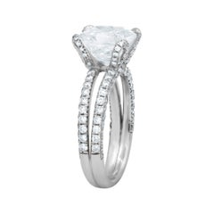 3.50 Carat Radiant Cut Diamond Ring in Platinum