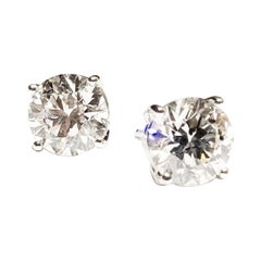 4.02 Carat Solitaire Diamond 18k Gold Stud Earrings with Positive Locking Backs