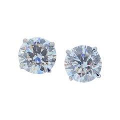 4.02 Carat Total Diamond Stud Earrings in 14 Karat White Gold