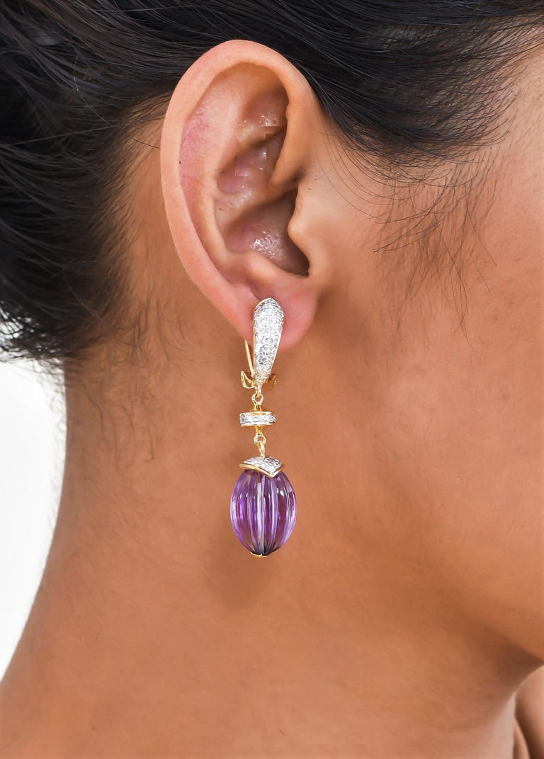 Bead 40.28 Carat Amethyst Melon and Diamond 18kt Yellow Gold Drop Earrings For Sale