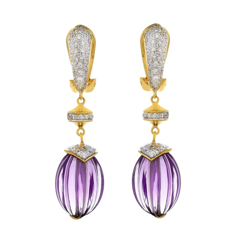 40.28 Carat Amethyst Melon and Diamond 18kt Yellow Gold Drop Earrings For Sale