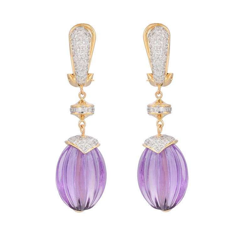 40.28 Carat Amethyst Melon and Diamond 18kt Yellow Gold Drop Earrings In New Condition For Sale In Jaipur, Jaipur