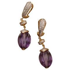 40.28 Carat Amethyst Melon and Diamond 18kt Yellow Gold Drop Earrings