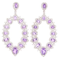 4.03 Carat Amethyst White Topaz Silver Earrings