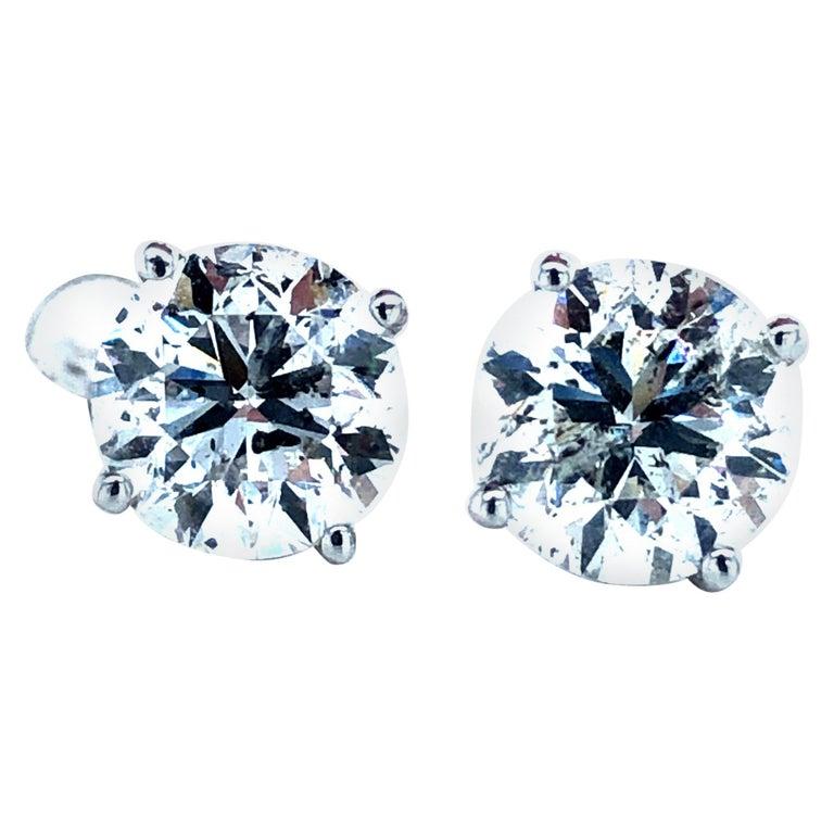4.03 Carat Diamond Stud Earrings For Sale