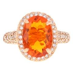 4.03 Carat Fire Opal Diamond 14 Karat Rose Gold Ring