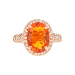 4.03 Carat Fire Opal Diamond 14 Karat Rose Gold Ring
