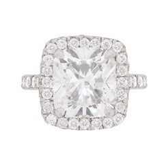 4.03 Carat GIA Certified Cushion Cut Diamond Halo Ring