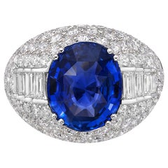 4.03 Carat GRS Certified 18K Gold Non Heated Sapphire and Natural Diamond Ring