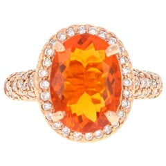 4.03 Carat Mexican Fire Opal Diamond 14 Karat Rose Gold Cocktail Ring