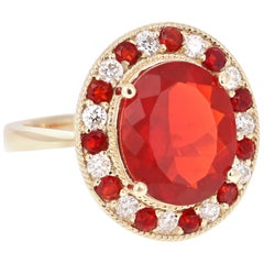 4.03 Carat Oval Cut Fire Opal Diamond 14 Karat Yellow Gold Cocktail Ring