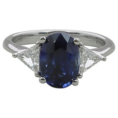 4.03 Carat Sapphire Three-Stone Ring 18 Karat White Gold
