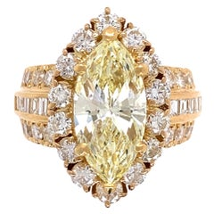 4.03 Carat Yellow Marquise Natural Diamond Gold Ring Estate Fine Jewelry