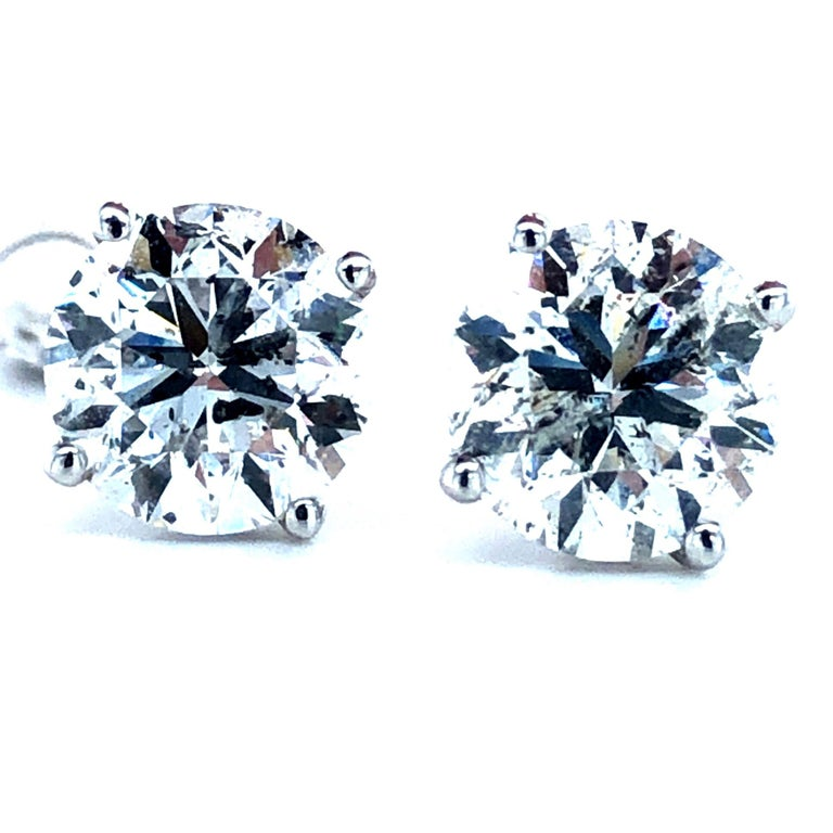 Women's or Men's 4.03 Carat Diamond Stud Earrings For Sale