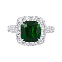 4.04 Carat Cushion Mixed Cut Natural Grossular Tsavorite Garnet 'AGL' Ring, 18K