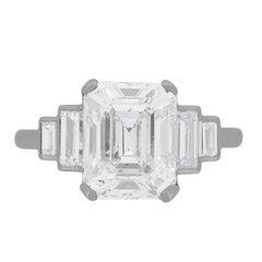 4.04 Carat Emerald Cut Diamond Solitaire Engagement Ring, circa 1920s