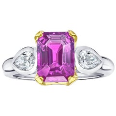 4.04 Carat Emerald Cut Pink Sapphire and Diamond Platinum and 18k Ring