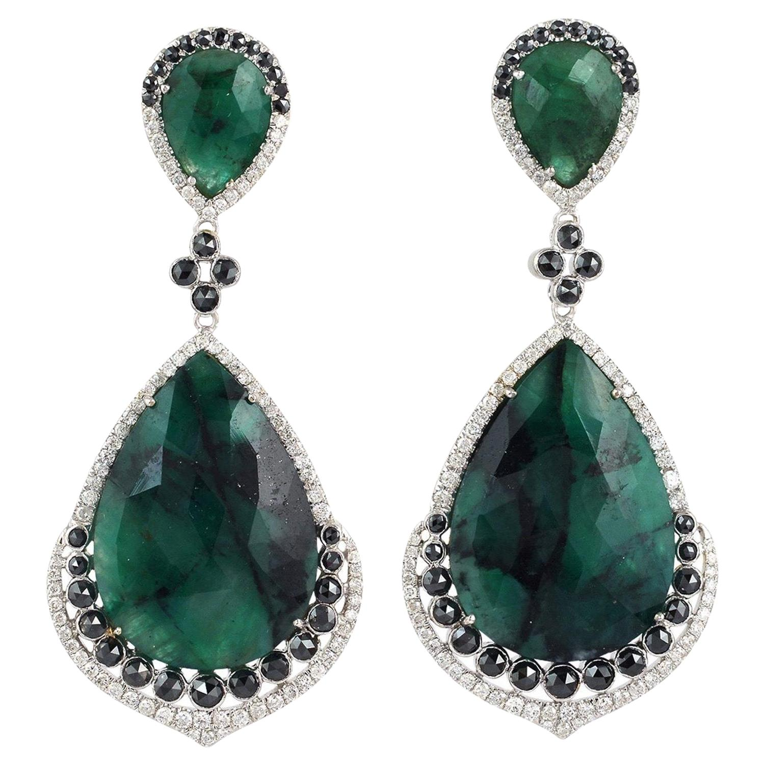 40.4 Carat Emerald Diamond 18 Karat Gold Earrings