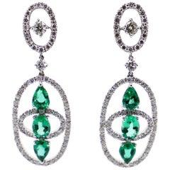 4.04 Carat Emeralds and 3.06 Carat White Diamonds Dangle Earrings