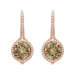 4.04 Carat Fancy Brown Diamond Drop Earrings with Fancy Pink Diamond Pavé