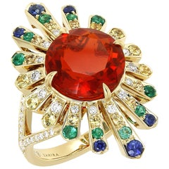 4.04 Carat Mexican Fire Opal Colored Sapphires Diamond Cocktail Ring 18k Gold