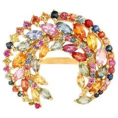 Multi Sapphire Crescent 18 Karat Gold Ring