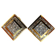 4.04 Carat Natural Diamonds Cluster Channel Princess Clip Earrings 18 Karat