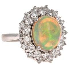 4.04 Carat Opal Diamond 14 Karat White Gold Cluster Ring