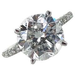 4.04 Carat Round Brilliant Diamond 18 Karat White Gold Engagement Ring GIA F/I1