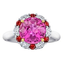 4.04 Carat Round Pink Sapphire Ruby and Diamond Platinum and 18k Ring