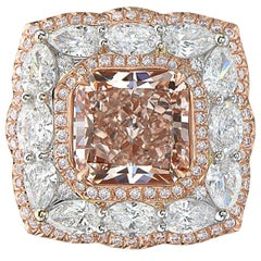 4.04 Carat Square Radiant Fancy Brown Pink Diamond 18 Karat GIA Ring