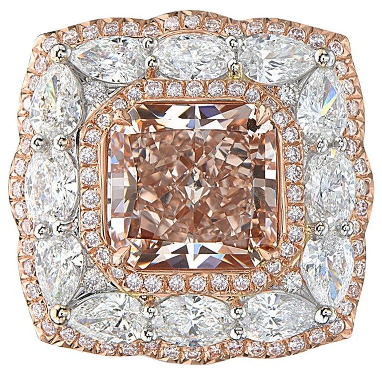 4.04 Carat Square Radiant Fancy Brown Pink Diamond 18 Karat GIA Ring