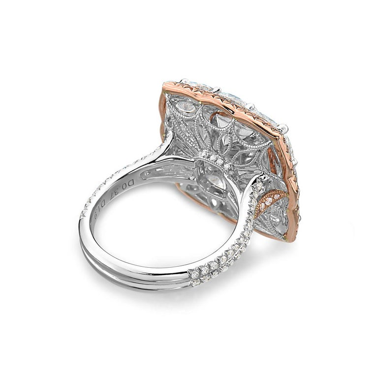 Radiant Cut 4.04 Carat Square Radiant Fancy Brown Pink Diamond 18 Karat GIA Ring